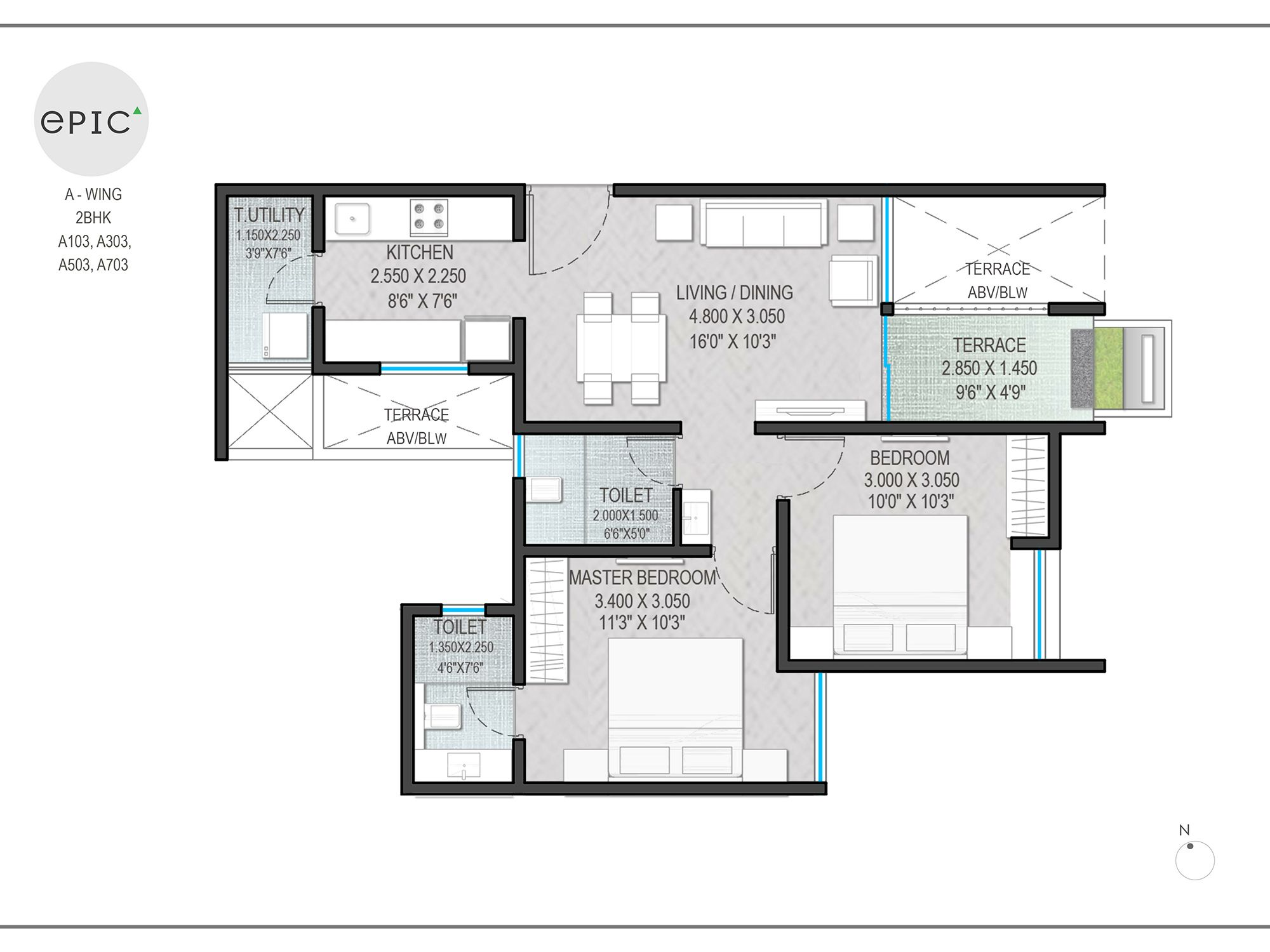 A wing 2 BHK A103, A303, A503, A703