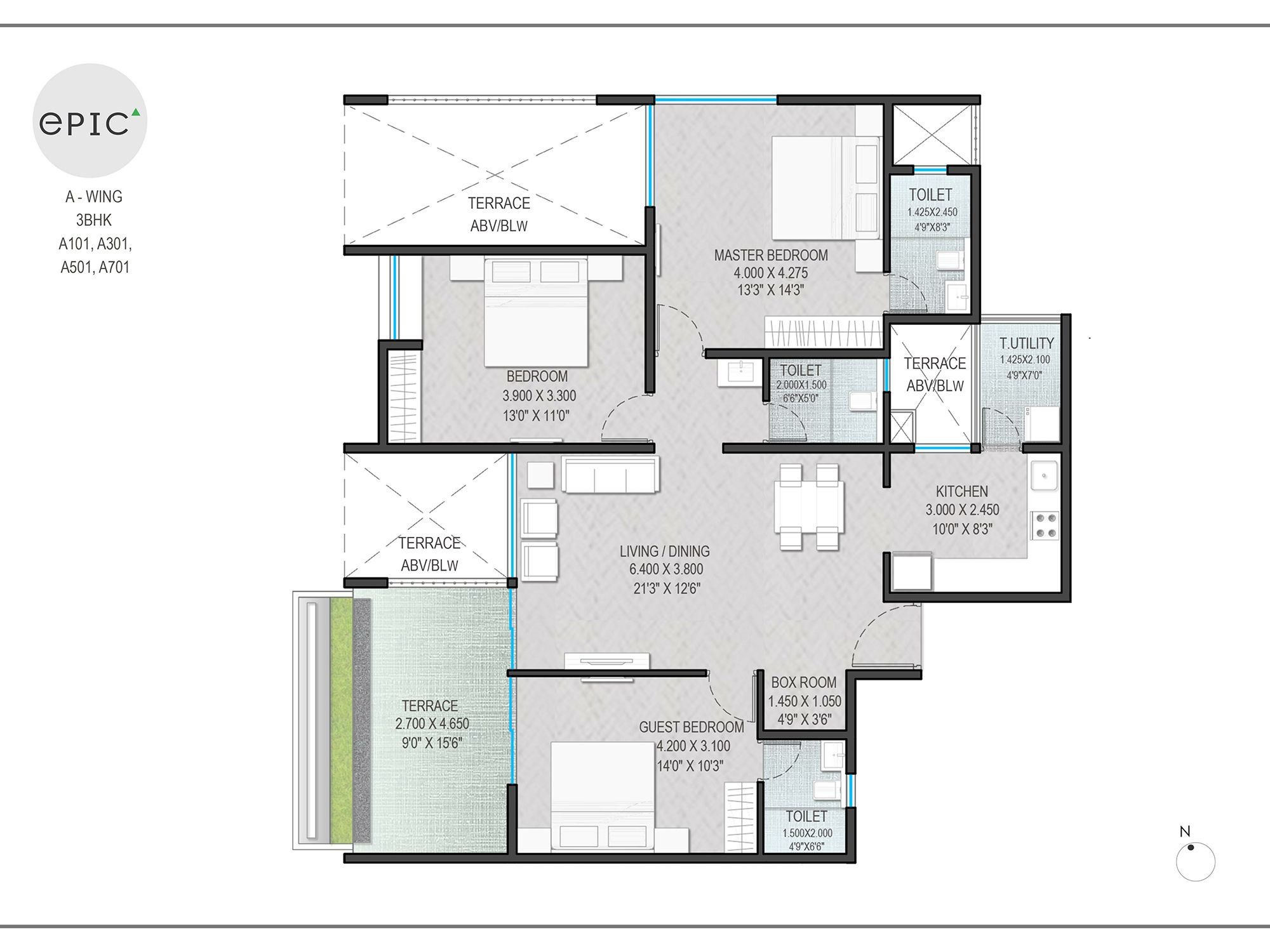 A wing 3 BHK A101, A301, A501, A701